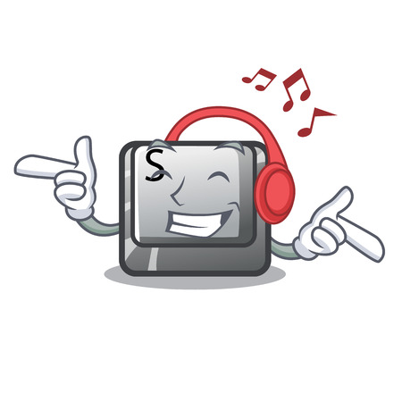Listening music button S on a computer cartoon vector illustration