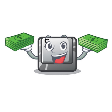 With money bag button S on a computer cartoon vector illustration