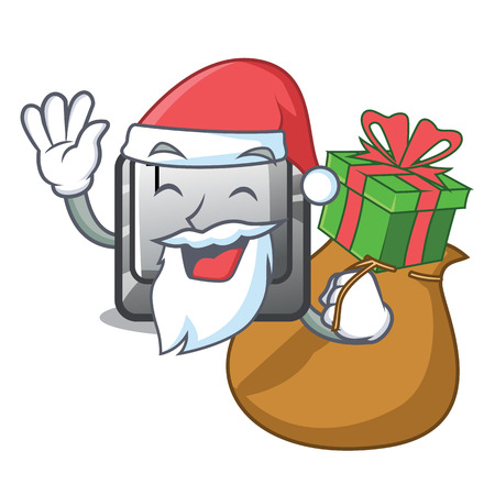 Santa with gift button T in the mascot shape Иллюстрация