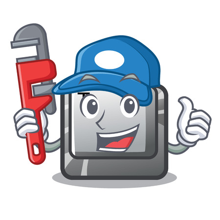Plumber button T in the mascot shape