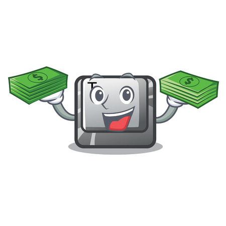 With money bag button T in the keyboard cartoon vector illustration  イラスト・ベクター素材