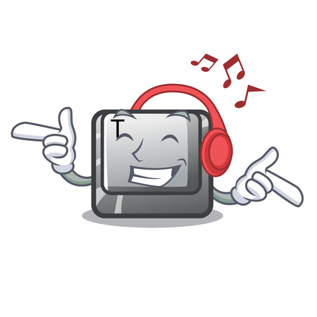Listening music button T in the keyboard cartoon vector illustration