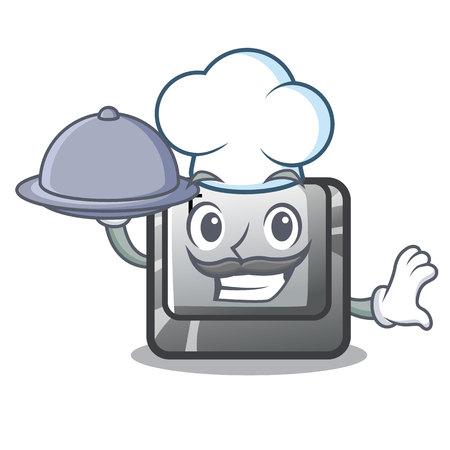 Chef with food button T in the keyboard cartoon vector illustration Vektoros illusztráció