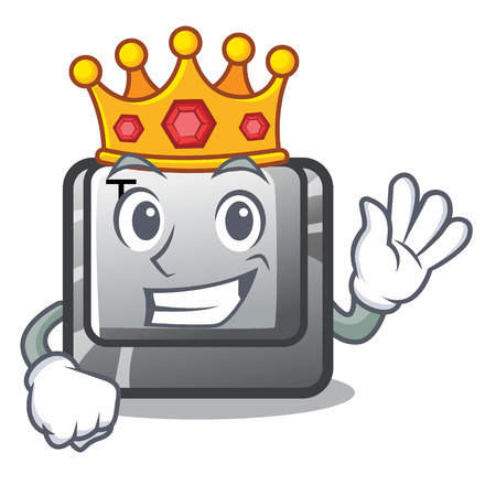 King button T in the mascot shape Иллюстрация