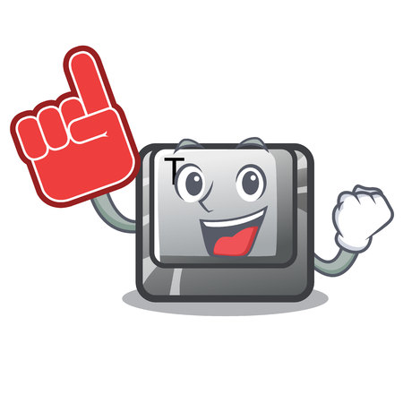 Foam finger button T in the mascot shape Иллюстрация