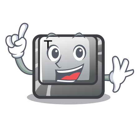 Finger button T in the mascot shape Illustration