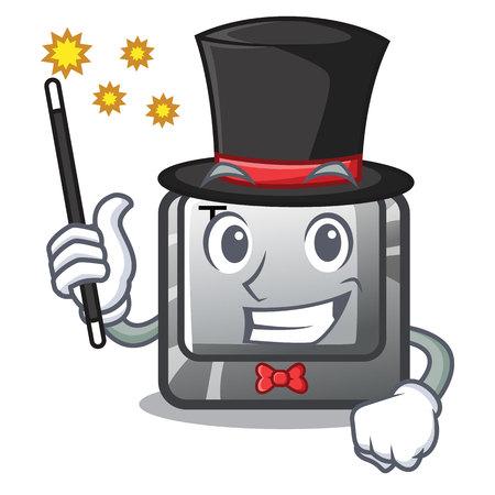 Magician button T in the mascot shape