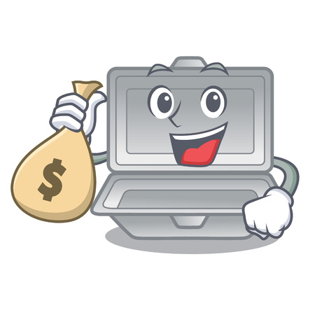 With money bag open container in the cartoon shape Stock Illustratie