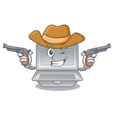 Cowboy open polystyrene in the cartoon shape vector illustration