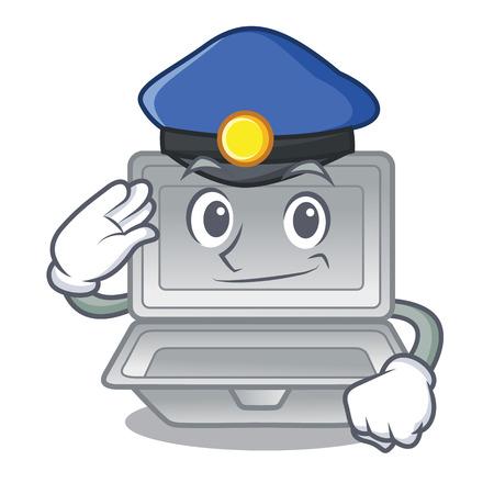 Police open polystyrene in the cartoon shape vector illustration