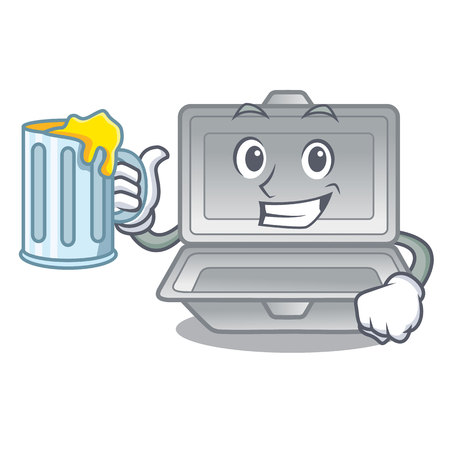 With juice open polystyrene in the character box vector illustration
