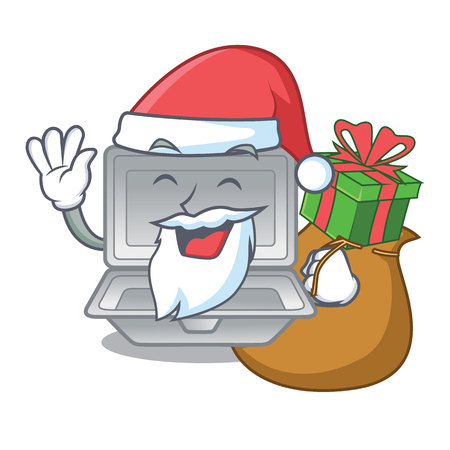 Santa with gift cartoon open polystyrene above the table vector illustration