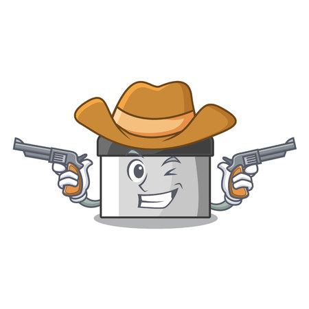 Cowboy character pastry scraper in wooden cupboard