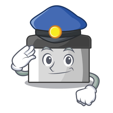 Police character pastry scraper in wooden cupboard vector illustration
