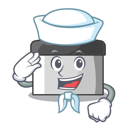 Sailor character pastry scraper in wooden cupboard vector illustration