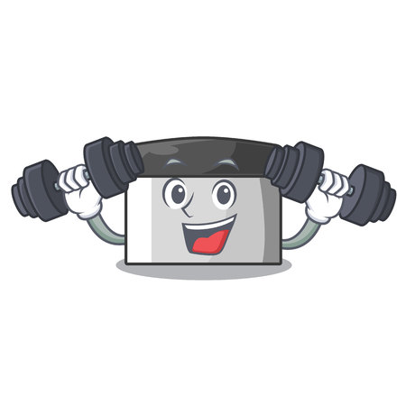 Fitness character pastry scraper in wooden cupboard vector illustration