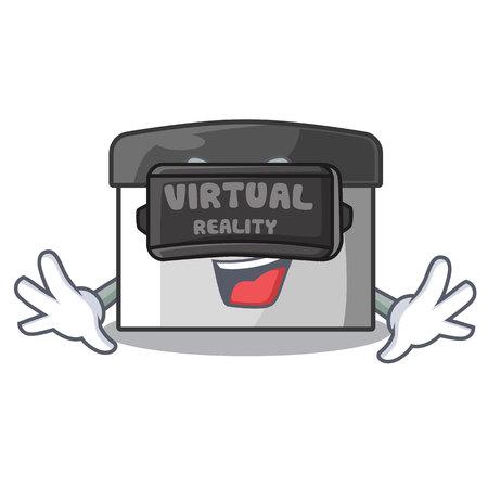 Virtual reality pastry scraper on wooden mascot table vector illustration Banco de Imagens - 123120114