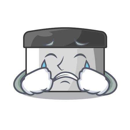 Crying pastry scraper on wooden mascot table vector illustration Banco de Imagens - 123120119