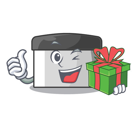 With gift pastry scraper on wooden mascot table vector illustration Banco de Imagens - 123120138