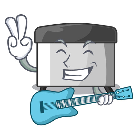 With guitar pastry scraper on wooden mascot table vector illustration Banco de Imagens - 123120139