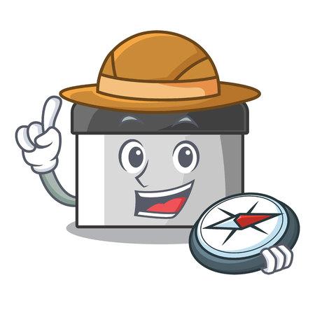 Explorer pastry scraper on wooden mascot table vector illustration Ilustração