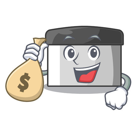 With money bag character pastry scraper in wooden cupboard vector illustration