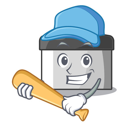 Playing baseball character pastry scraper in wooden cupboard vector illustration