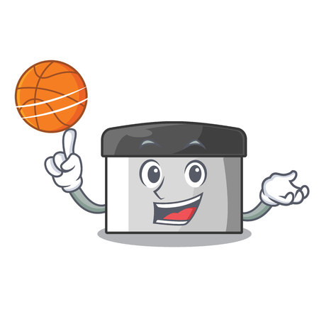 With basketball character pastry scraper in wooden cupboard vector illustration
