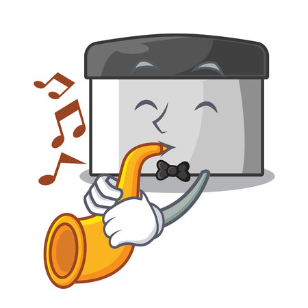 With trumpet pastry scraper on wooden mascot table vector illustration Banco de Imagens - 123120165