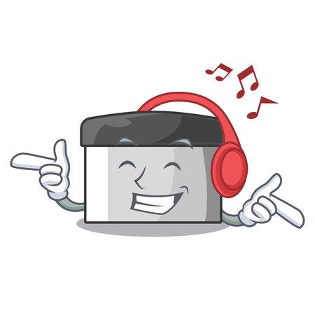 Listening music pastry scraper on wooden mascot table vector illustration