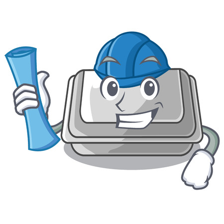 Architect plastic box in the mascot shape vector illustration Illustration