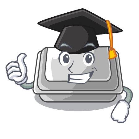 Graduation plastic box in the mascot shape vector illustration