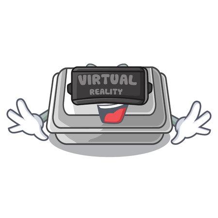 Virtual reality plastic box in the cartoon table vector illlustration Illustration