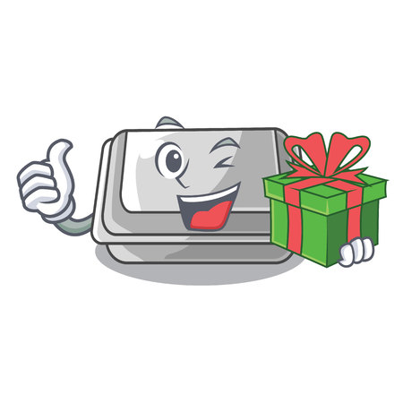 With gift plastic box in the cartoon table vector illlustration