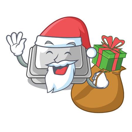Santa with gift plastic box in the character closet vector illustration Ilustração