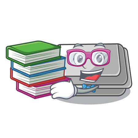 Student with book plastic box in the character closet vector illustration Banco de Imagens - 123120226