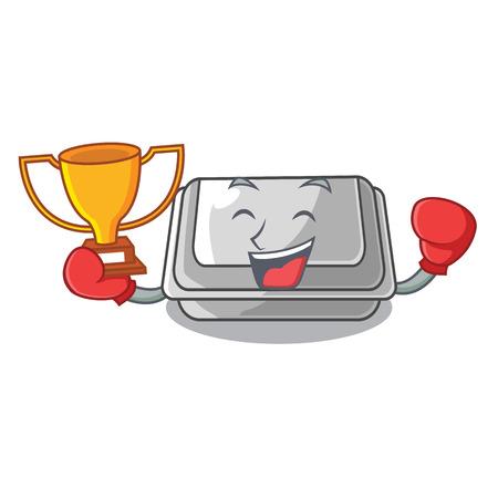 Boxing winner plastic box in the character closet vector illustration Banco de Imagens - 123120227