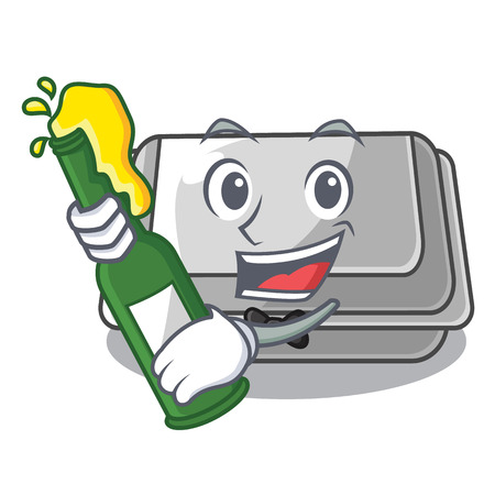 With beer plastic box in the character closet vector illustration