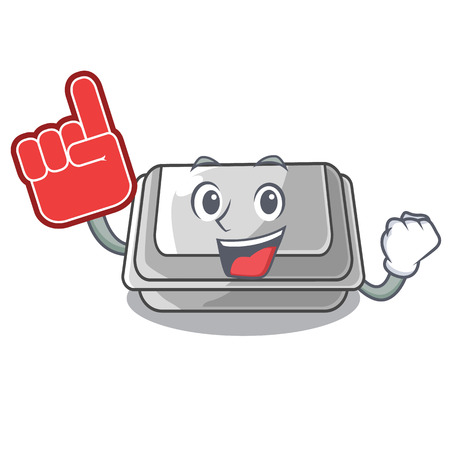 Foam finger plastic box in the character closet vector illustration Banco de Imagens - 123120229