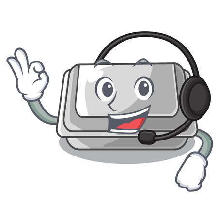 With headphone plastic box in the character closet vector illustration