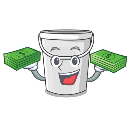 With money bag cartoon plastic tube bucket bedside table vector illustration Ilustración de vector