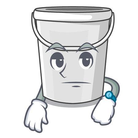 Waiting plastic tube bucket in the mascot vector illustration Illustration