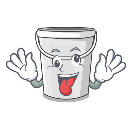 Crazy plastic tube bucket in the mascot vector illustration