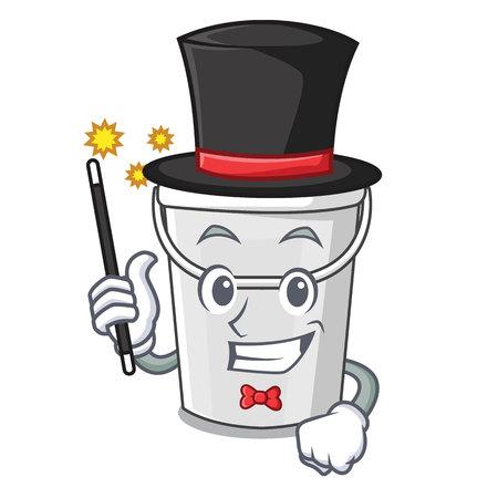 Magician plastic tube bucket in the mascot vector illustration Imagens - 123120290