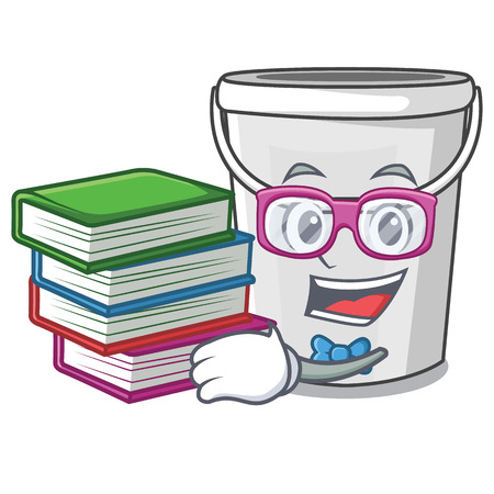 Student with book plastic tube bucket in the mascot vector illustration