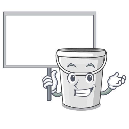 Traiga el cubo de tubo de plástico de tablero aislado la ilustración de vector de carácter