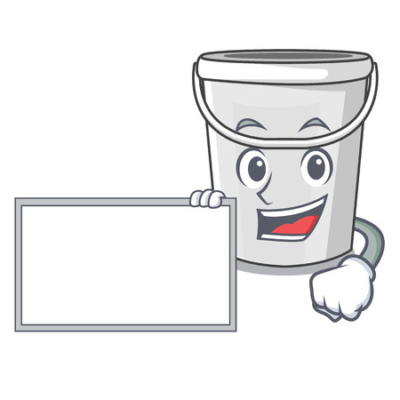 With board plastic tube bucket isolated the character vector illustration