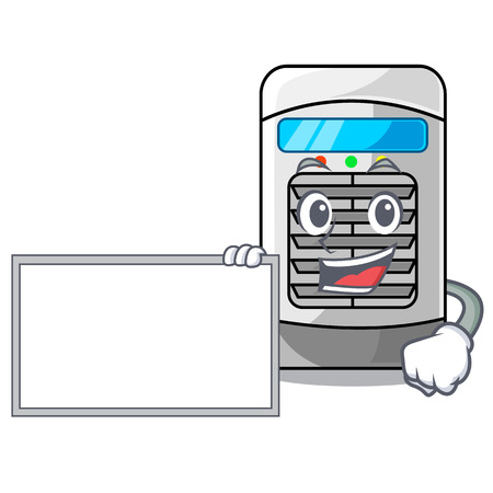 With board mascot air cooler mounted on wall vector illustration