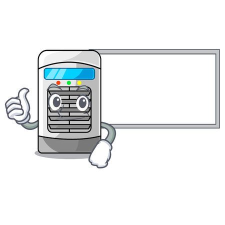 Thumbs up with board mascot air cooler mounted on wall vector illustration