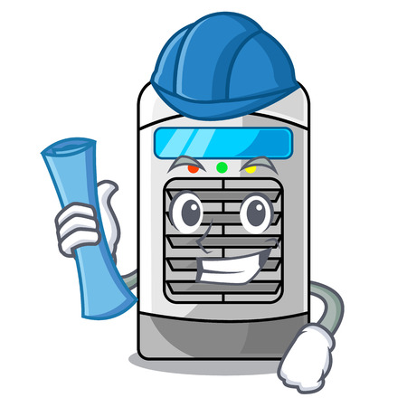Architect air cooler at the character table vector illustration